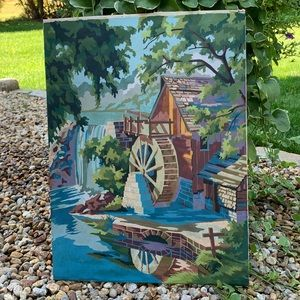 Vintage Paint By Numbers Old Mill Stream Painting